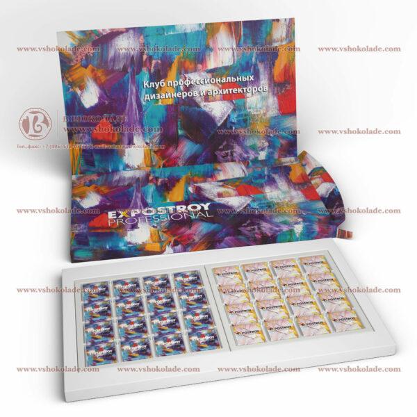 """Набор на 32 шоколадных плитки с логотипом заказчика """"32 Книга-пенал"""""""