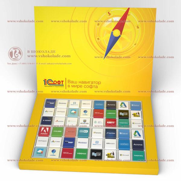"Набор на 48 шоколадных плиток с логотипом заказчика ""48 книга"""