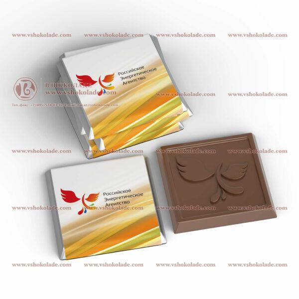 Квадратный шоколад с логотипом 5г с барельефом