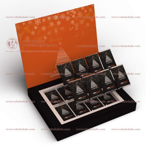 Шоколадный набор из 16 шоколадок по 9 г, уложенных в 2 слоя по 8шт