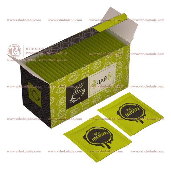 Чай с логотипом 25 шт в коробке с готовым дизайном