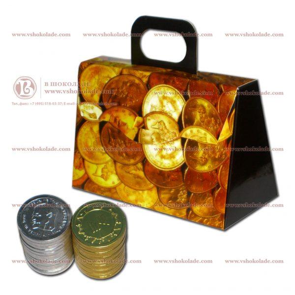 Чемодан для денег - картонная коробка с шоколадными монетами