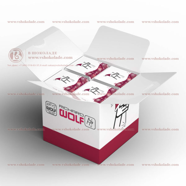 """Шоколадный набор с логотипом клиента """"Кубик"""", до 28 шоколадок по 5 г"""