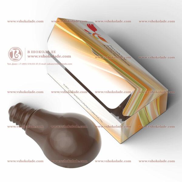 """Шоколадный барельеф в форме лампочки с логотипом заказчика """"Российское энергетическое агентство"""""""