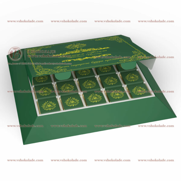 Набор на 25 шоколадных плиток с логотипом заказчика