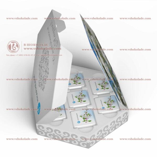 Набор шоколадных плиток с логотипом заказчика Шестигранник