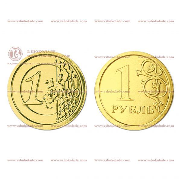 Шоколадная монета, чеканка - монеты рубль и евро