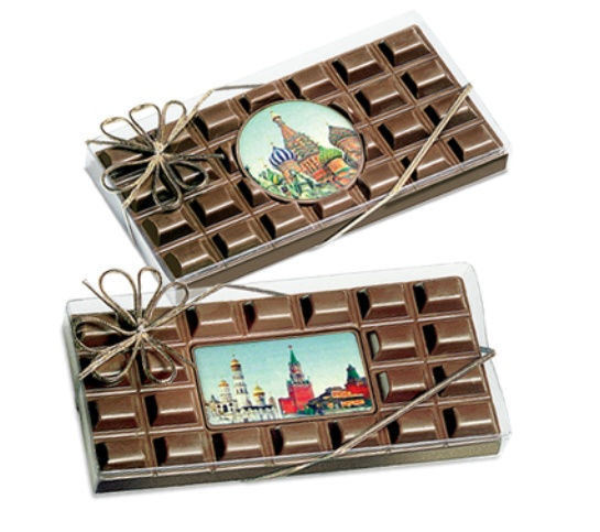 Шоколадная плитка с медалью или визиткой