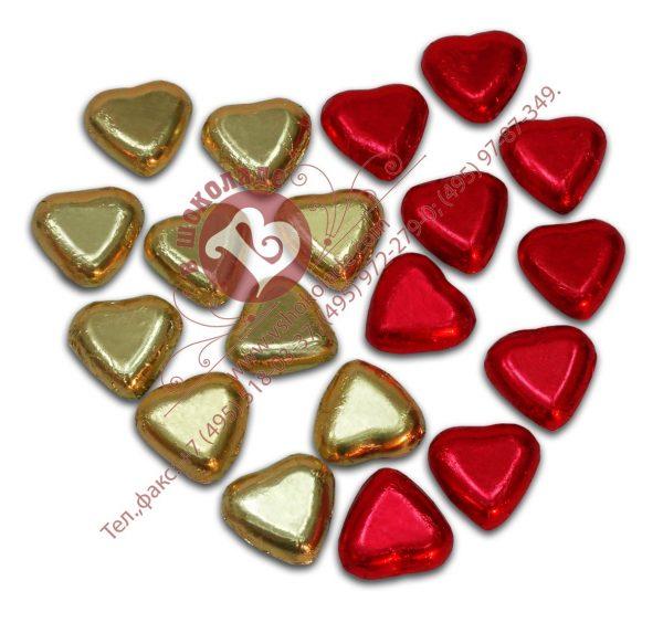 Шоколадные сердечки в фольге