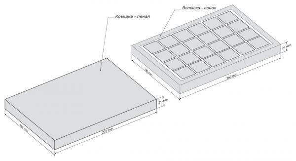 Шоколадный набор 8 Марта - 24 пенал горизонталь - чертеж коробки