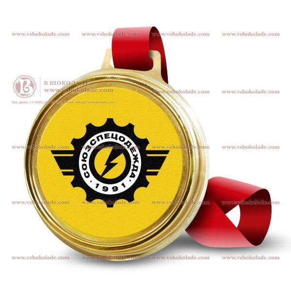 Шоколадная медаль на ленте с логотипом 45 г.