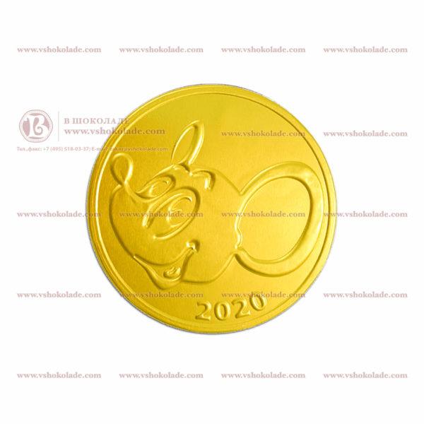 шоколадные монеты с символикой Нового Года 2020