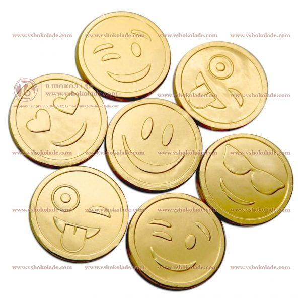 Шоколадная монета, чеканка - улыбки