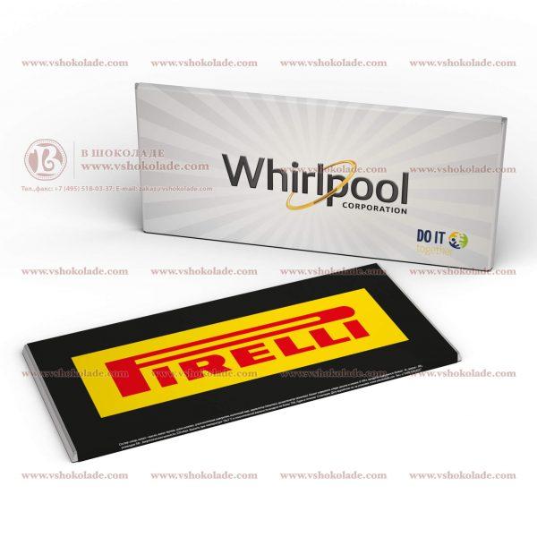 Шоколад с логотипом 100 г в модном формате тонкой плитки