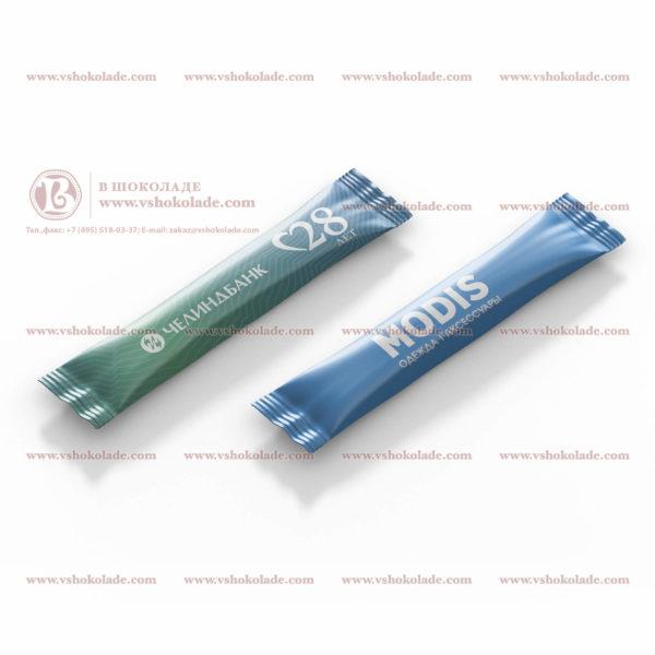 Порционный сахар 4 г с логотипом Вашей компании в формате стика - трубочки