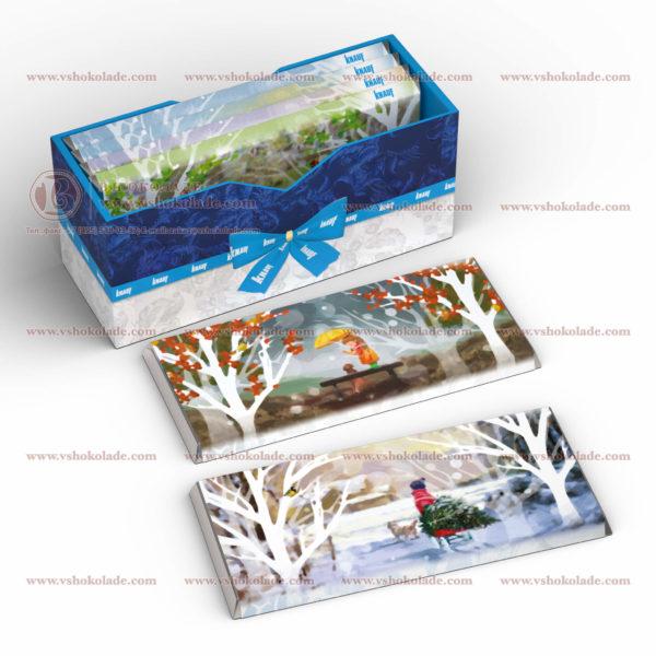 Набор шоколада с логотипом 6 плиток 100 г в коробке из жесткого картона
