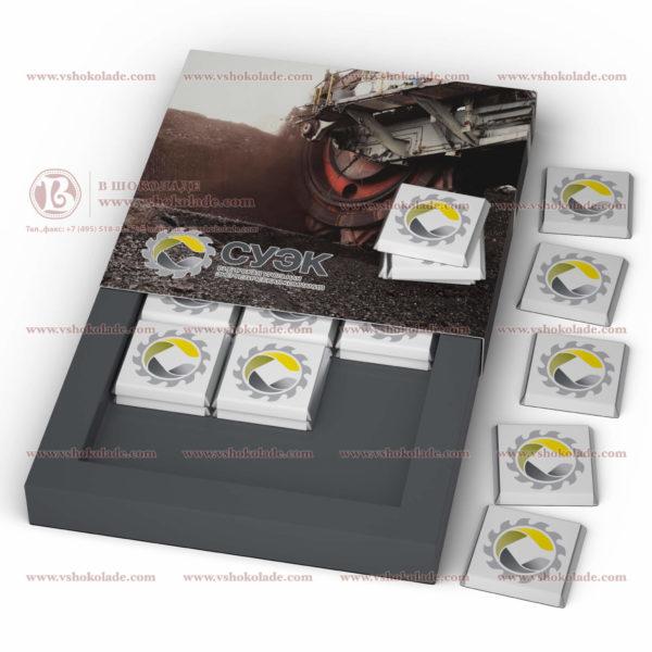 """Шоколадный набор плиток с логотипом """"Девятка пенал без коррекса 2"""", 18 шоколадок по 5 г"""