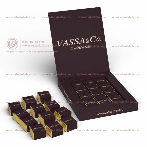 """Шоколадный набор с логотипом клиента """"12 кубиков"""" по 7,5 г"""