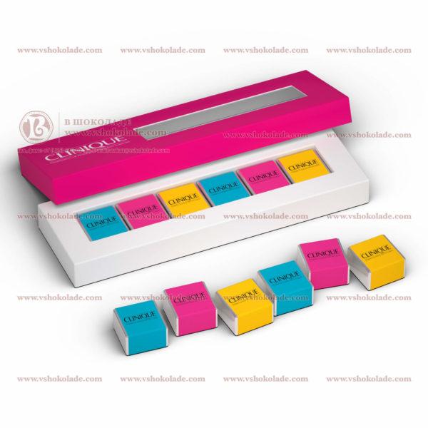 """Шоколадный набор с логотипом клиента """"6 кубиков"""" по 7,5 г"""