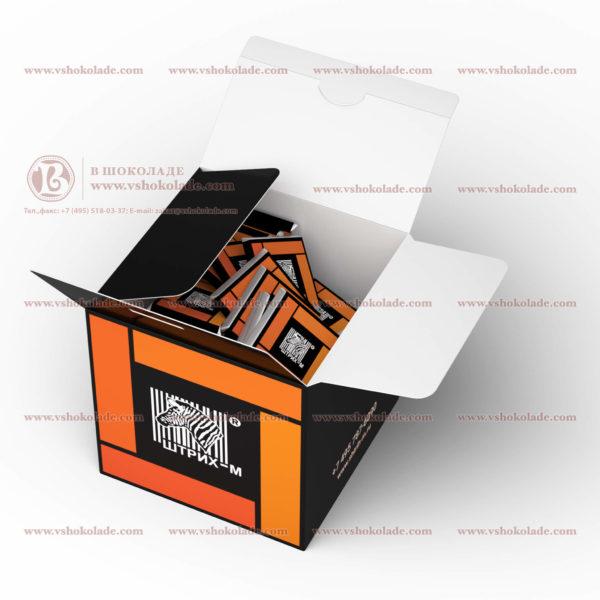 """Шоколадный набор с логотипом клиента """"Кубик 2"""", до 80 шоколадок по 5 г"""