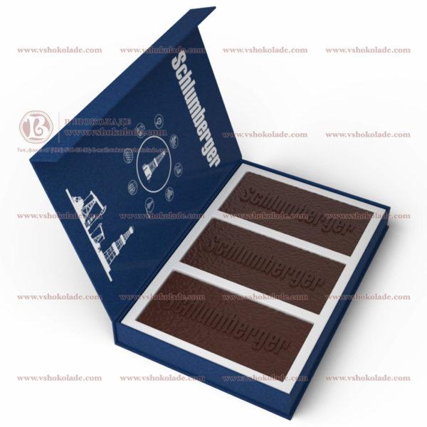 Набор шоколадных плиток с барельефом «Schlumberger» в коробке из переплетного картона