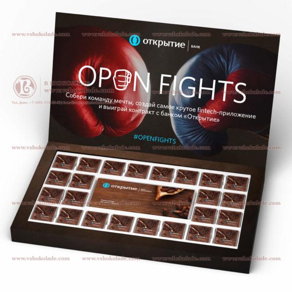Набор шоколадок с логотипом из плитки 100 г и 24 плиток по 5 г