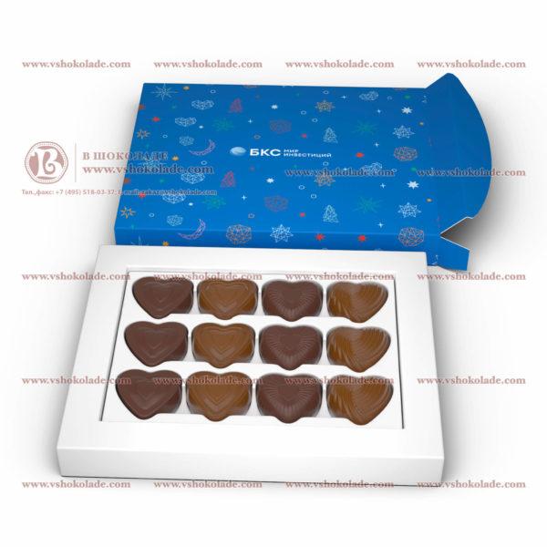 """Набор из 12 шоколадных фигурок """"Сердца"""" с логотипом"""