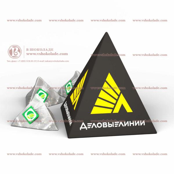 10 Пирамидок чая в пачках с логотипом заказчика