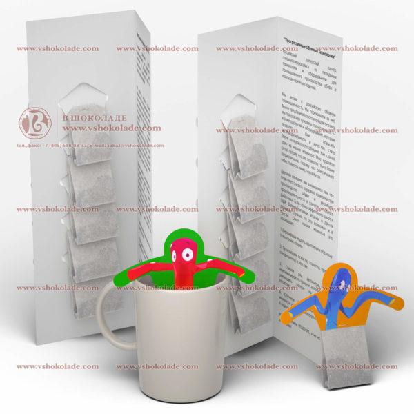 Открытка с логотипом и 5 фильтр-пакетов чая, каждый на держателе для чашки