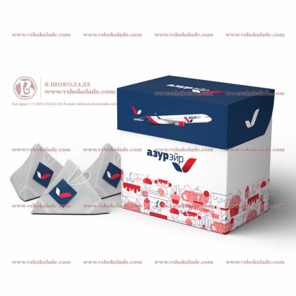 Чайные пирамидки в коробке с откидной крышкой с логотипом заказчика по 20шт