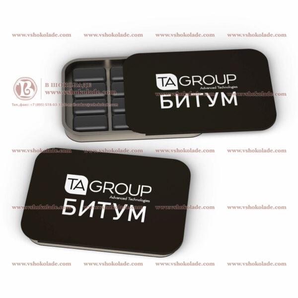Жевательная резинка Dirol черного цвета в жестяной банке с логотипом 12 подушек