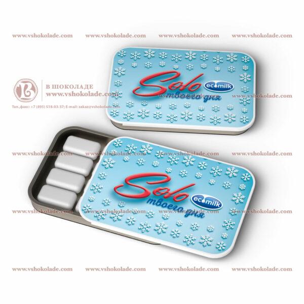 Жевательная резинка Dirol в жестяной банке с логотипом 12 подушек