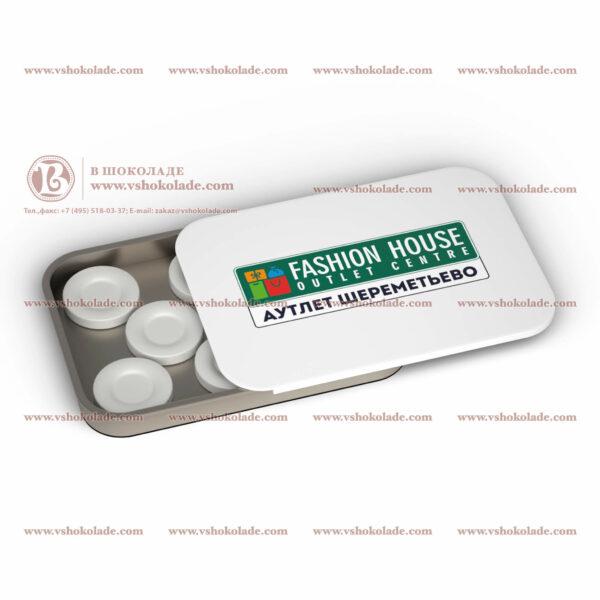 Холодок с логотипом в жестяной банке с логотипом 8 таблеток