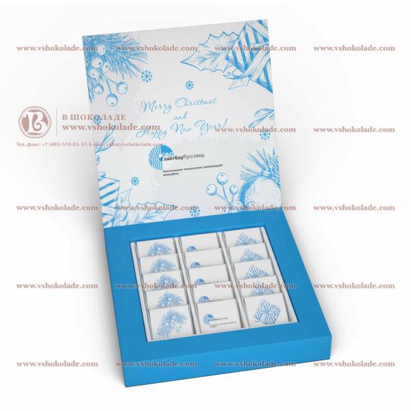 """Шоколадный набор """"Амфитеатр 15"""" шоколадки по 5 г с логотипом"""