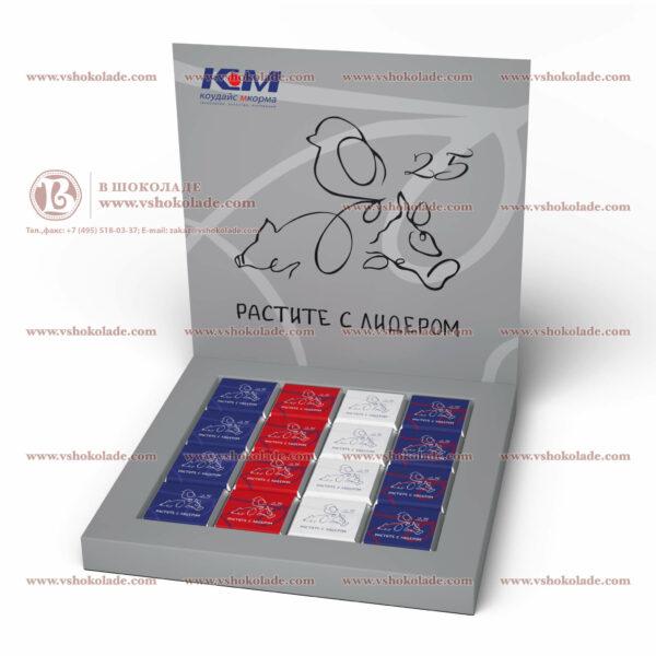 Шоколадный набор с логотипом - 16 шоколадок по 5 гр