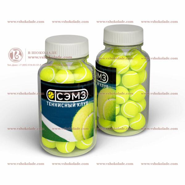 """Брендированная жевательная резинка с логотипом """"теннисный мяч"""" в банке 250 ml"""